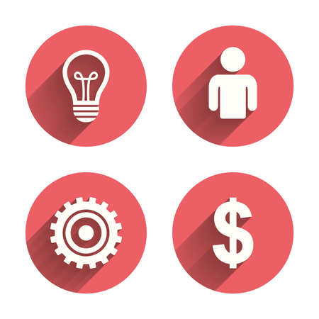 shadows: Business icons. Human silhouette and lamp bulb idea signs. Dollar currency and gear symbols. Pink circles flat buttons with shadow. Vector