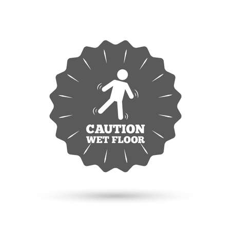 wet floor caution sign: Vintage emblem medal. Caution wet floor sign icon. Human falling symbol. Classic flat icon. Vector Illustration