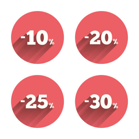 20 to 25: Sale discount icons. Special offer price signs. 10, 20, 25 and 30 percent off reduction symbols. Pink circles flat buttons with shadow. Vector Illustration