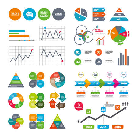 special education: Business data pie charts graphs. Back to school sale icons. Studies after the holidays signs. Pencil symbol. Market report presentation. Vector Illustration