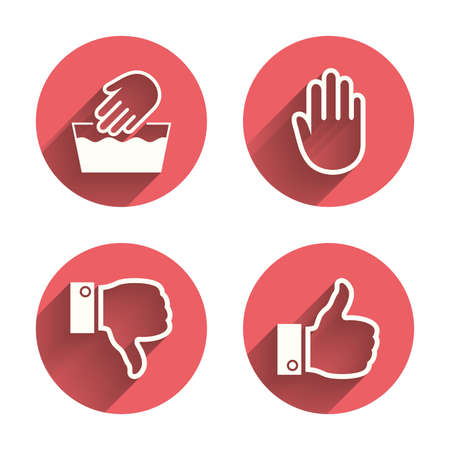 washable: Hand icons. Like and dislike thumb up symbols. Not machine washable sign. Stop no entry. Pink circles flat buttons with shadow. Vector