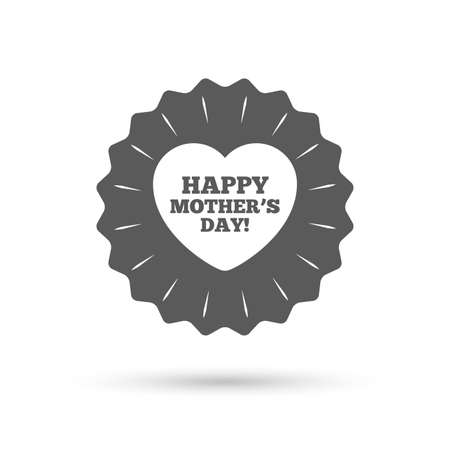 day sign: Vintage emblem medal. Happy Motherss Day sign icon. Mom symbol. Classic flat icon. Vector
