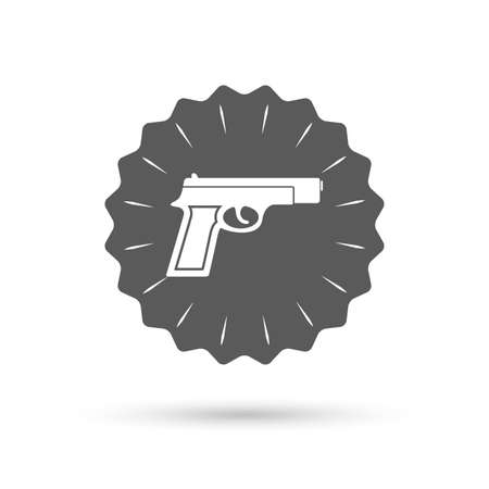 firearms: Vintage emblem medal. Gun sign icon. Firearms weapon symbol. Classic flat icon. Vector