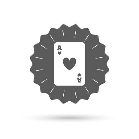 ace of hearts: Vintage emblem medal. Casino sign icon. Playing card symbol. Ace of hearts. Classic flat icon. Vector