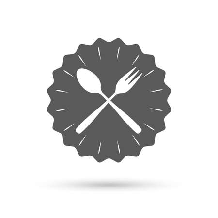 crosswise: Vintage emblem medal. Eat sign icon. Cutlery symbol. Dessert fork and teaspoon crosswise. Classic flat icon. Vector
