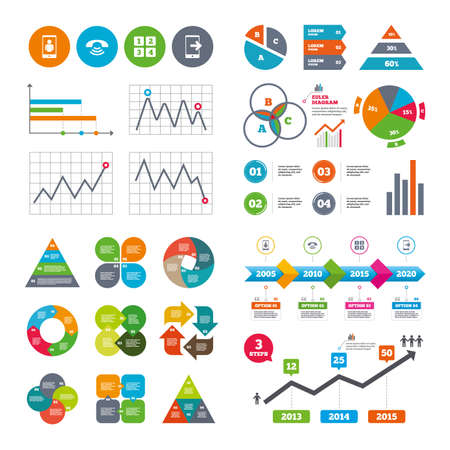 Business data pie charts graphs. Phone icons. Smartphone video call sign. Call center support symbol. Cellphone keyboard symbol. Market report presentation. Vector