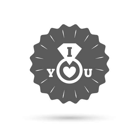 i love you sign: Vintage emblem medal. I Love you sign icon. Valentines day symbol. Classic flat icon. Vector Illustration