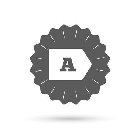 consommation: Vintage emblem medal. Energy efficiency class A sign icon. Energy consumption symbol. Classic flat icon. Vector