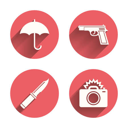 edged: Gun weapon icon.Knife, umbrella and photo camera with flash signs. Edged hunting equipment. Prohibition objects. Pink circles flat buttons with shadow. Vector Illustration