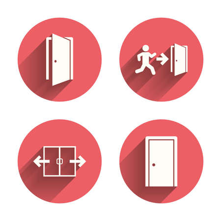 emergency exit label: Automatic door icon. Emergency exit with human figure and arrow symbols. Fire exit signs. Pink circles flat buttons with shadow. Vector Illustration