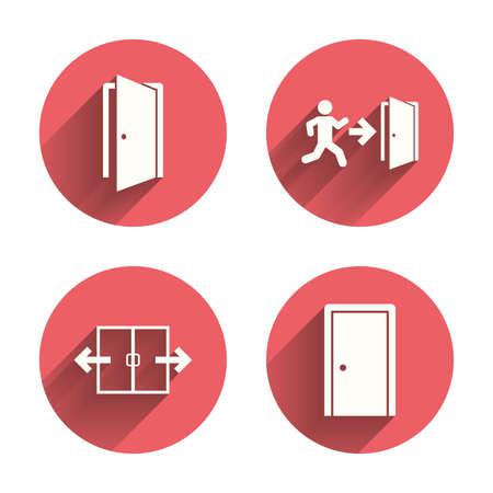 emergencia: Icono automático de la puerta. Salida de emergencia con símbolos de figuras y flechas humanos. Las señales de salida de incendios. Círculos rosados ??botones planos con sombra. Vector