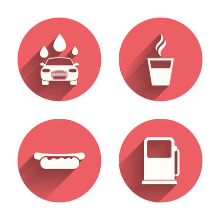 hot drinks: Petrol or Gas station services icons. Automated car wash signs. Hotdog sandwich and hot coffee cup symbols. Pink circles flat buttons with shadow. Vector Illustration