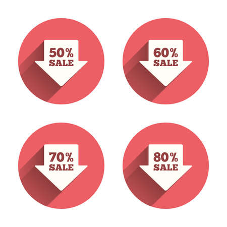 50 to 60: Sale arrow tag icons. Discount special offer symbols. 50%, 60%, 70% and 80% percent sale signs. Pink circles flat buttons with shadow. Vector Illustration