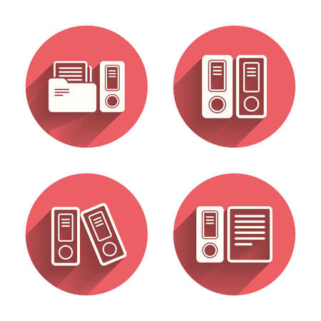 file folder: Accounting icons. Document storage in folders sign symbols. Pink circles flat buttons with shadow. Vector