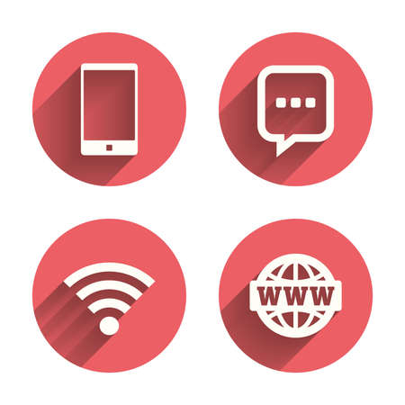 Communication icons. Smartphone and chat speech bubble symbols. Wifi and internet globe signs. Pink circles flat buttons with shadow. Vector