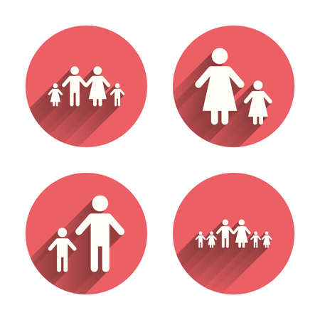care allowance: Large family with children icon. Parents and kids symbols. One-parent family signs. Mother and father divorce. Pink circles flat buttons with shadow. Vector