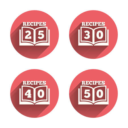 30 to 40: Cookbook icons. 25, 30, 40 and 50 recipes book sign symbols. Pink circles flat buttons with shadow. Vector