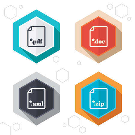 Hexagon buttons. Download document icons. File extensions symbols. PDF, ZIP zipped, XML and DOC signs. Labels with shadow. Vector
