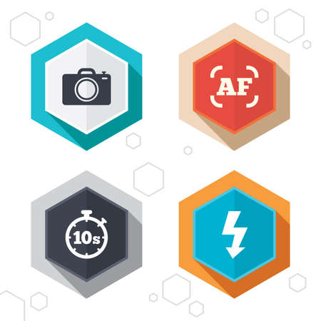 autofocus: Hexagon buttons. Photo camera icon. Flash light and autofocus AF symbols. Stopwatch timer 10 seconds sign. Labels with shadow. Vector