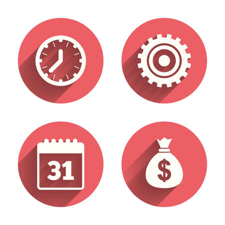 event planning: Business icons. Calendar and mechanical clock signs. Dollar money bag and gear symbols. Pink circles flat buttons with shadow. Vector