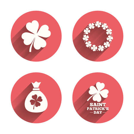 clover buttons: Saint Patrick day icons. Money bag with clover sign. Wreath of quatrefoil clovers. Symbol of good luck. Pink circles flat buttons with shadow. Vector