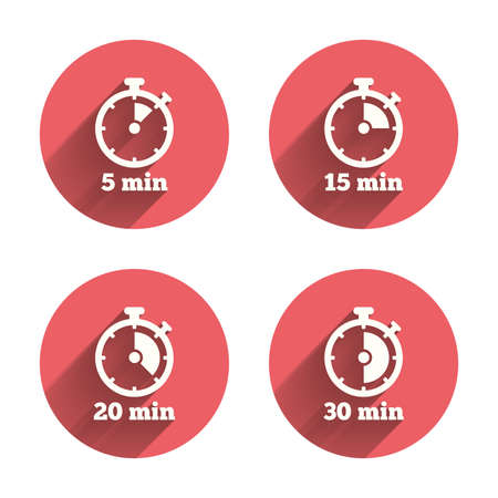 15 20: Timer icons. 5, 15, 20 and 30 minutes stopwatch symbols. Pink circles flat buttons with shadow. Vector Illustration