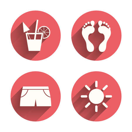 swimming trunks: Beach holidays icons. Cocktail, human footprints and swimming trunks signs. Summer sun symbol. Pink circles flat buttons with shadow. Vector