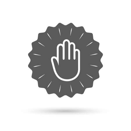 give me five: Vintage emblem medal. Hand sign icon. No Entry or stop symbol. Give me five. Classic flat icon. Vector Illustration