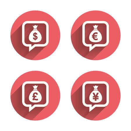 jpy: Money bag icons. Dollar, Euro, Pound and Yen speech bubbles symbols. USD, EUR, GBP and JPY currency signs. Pink circles flat buttons with shadow. Vector