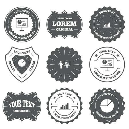 demand: Vintage emblems, labels. Diagram graph Pie chart icon. Presentation billboard symbol. Supply and demand. Man standing with pointer. Design elements. Vector