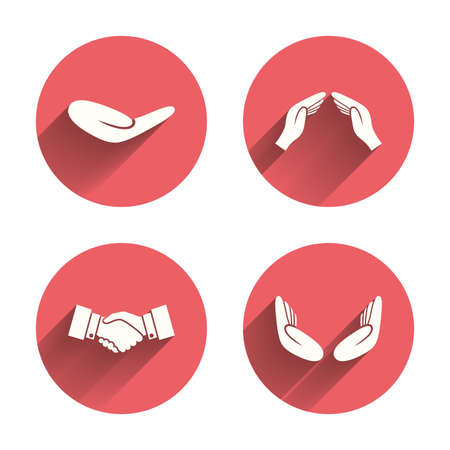 protection hands: Hand icons. Handshake successful business symbol. Insurance protection sign. Human helping donation hand. Prayer meditation hands. Pink circles flat buttons with shadow. Vector