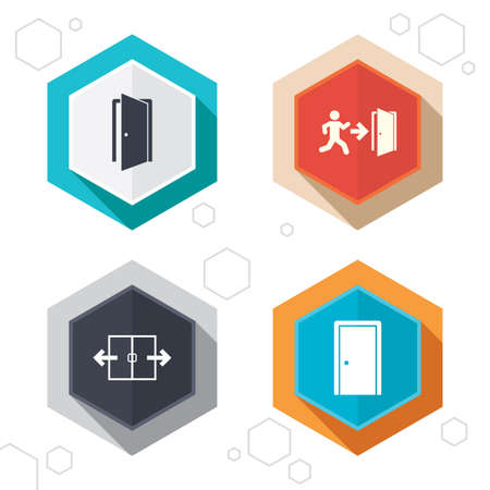 automatic doors: Hexagon buttons. Automatic door icon. Emergency exit with human figure and arrow symbols. Fire exit signs. Labels with shadow. Vector Illustration