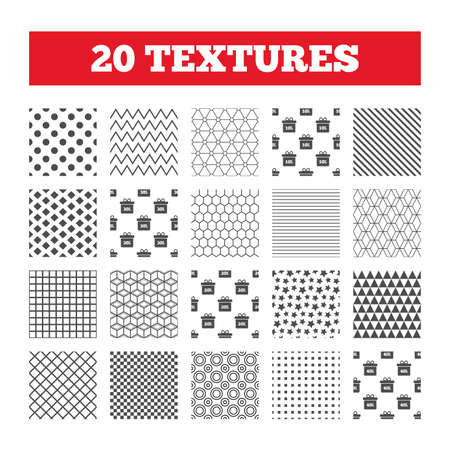 reductions: Seamless patterns. Endless textures. Sale gift box tag icons. Discount special offer symbols. 10%, 20%, 30% and 40% percent discount signs. Geometric tiles, rhombus. Vector