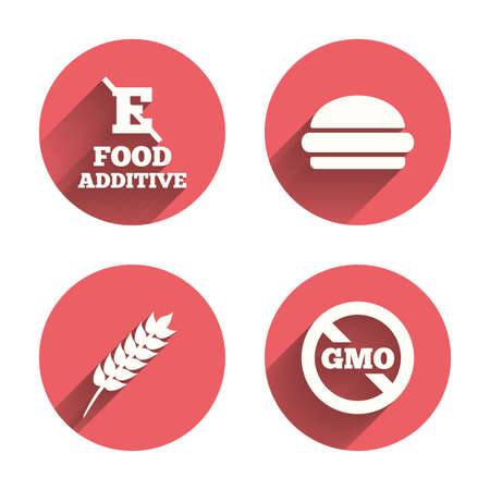 set free: Food additive icon. Hamburger fast food sign. Gluten free and No GMO symbols. Without E acid stabilizers. Pink circles flat buttons with shadow. Vector