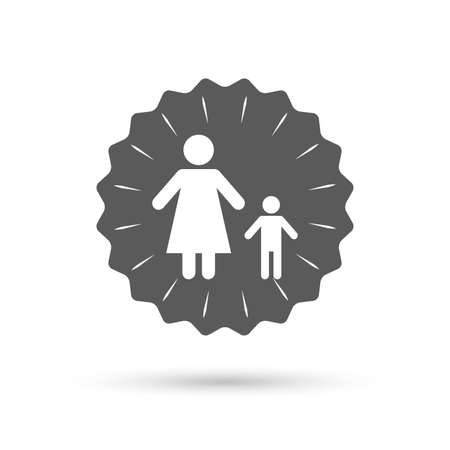 family with one child: Vintage emblem medal. One-parent family with one child sign icon. Mother with son symbol. Classic flat icon. Vector
