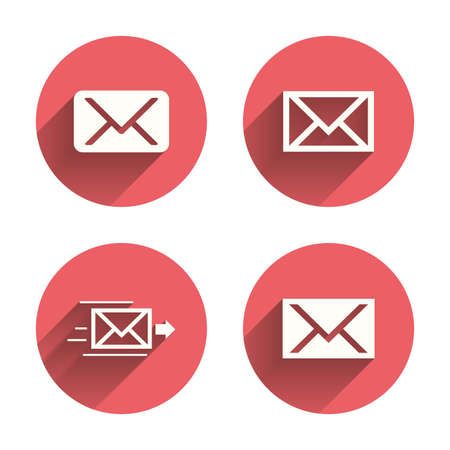 webmail: Mail envelope icons. Message delivery symbol. Post office letter signs. Pink circles flat buttons with shadow. Vector