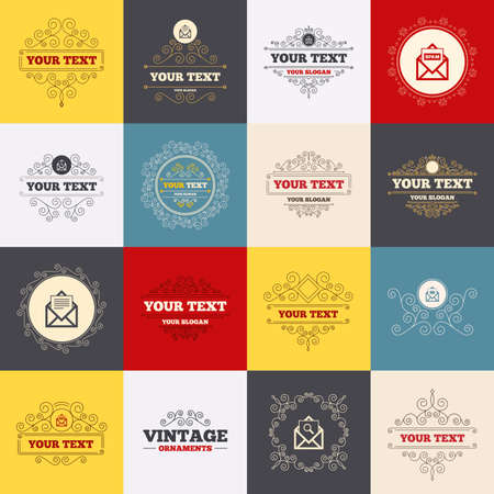 webmail: Vintage frames, labels. Mail envelope icons. Print message document symbol. Post office letter signs. Spam mails and search message icons. Scroll elements. Vector