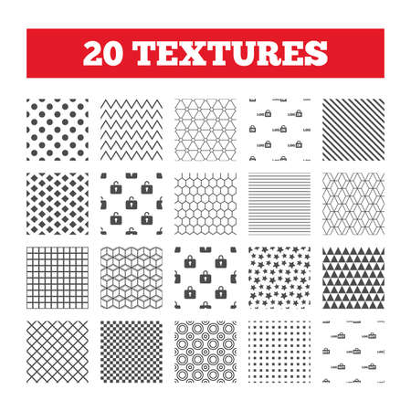 sign out: Seamless patterns. Endless textures. Login and Logout icons. Sign in or Sign out symbols. Lock icon. Geometric tiles, rhombus. Vector