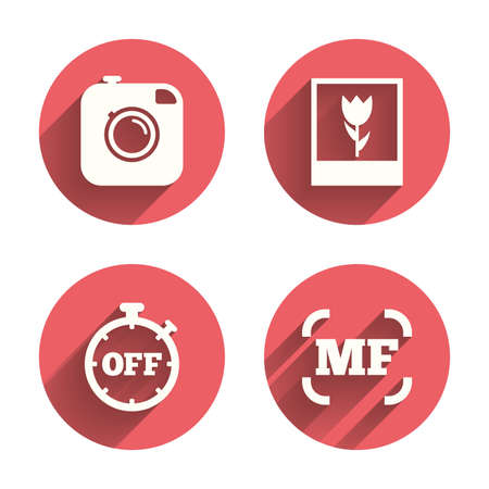 focus on shadow: Hipster retro photo camera icon. Manual focus symbols. Stopwatch timer off sign. Macro symbol. Pink circles flat buttons with shadow. Vector Illustration