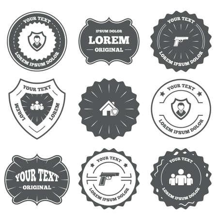 pistola: Emblemas vintage, etiquetas. Iconos de la agencia de seguridad. Símbolos de protección de escudo Inicio. Signo del arma del arma. Grupo de personas o Compartir. Los elementos de diseño. Vector Vectores
