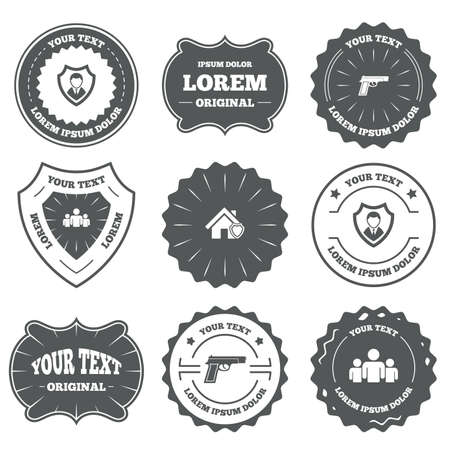 home group: Vintage emblems, labels. Security agency icons. Home shield protection symbols. Gun weapon sign. Group of people or Share. Design elements. Vector