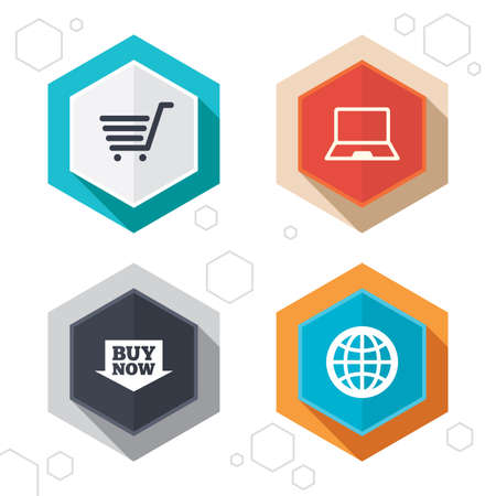 Hexagon buttons. Online shopping icons. Notebook pc, shopping cart, buy now arrow and internet signs. WWW globe symbol. Labels with shadow. Vector Illustration