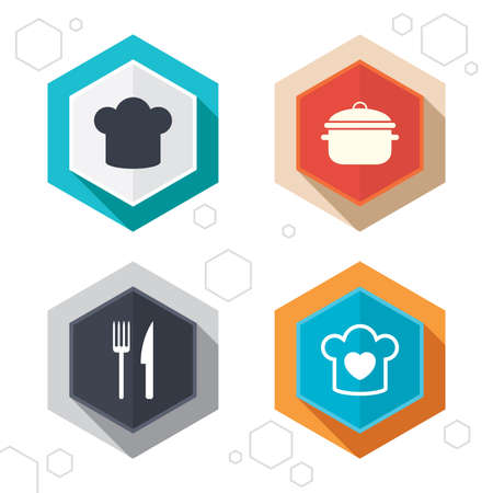 stew: Hexagon buttons. Chief hat and cooking pan icons. Fork and knife signs. Boil or stew food symbols. Labels with shadow. Vector Illustration