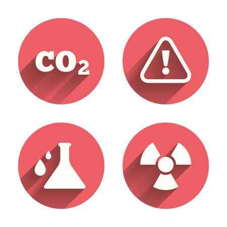 danger carbon dioxide  co2  labels: Attention and radiation icons. Chemistry flask sign. CO2 carbon dioxide symbol. Pink circles flat buttons with shadow. Vector