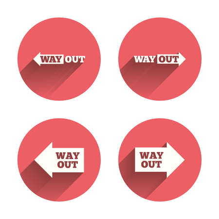 escape route: Way out icons. Left and right arrows symbols. Direction signs in the subway. Pink circles flat buttons with shadow. Vector Illustration