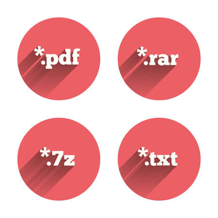 txt: Document icons. File extensions symbols. PDF, RAR, 7z and TXT signs. Pink circles flat buttons with shadow. Vector