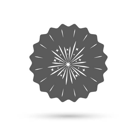 fireworks show: Vintage emblem medal. Fireworks sign icon. Explosive pyrotechnic show symbol. Classic flat icon. Vector
