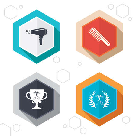 comb hair: Hexagon buttons. Hairdresser icons. Scissors cut hair symbol. Comb hair with hairdryer symbol. Barbershop laurel wreath winner award. Labels with shadow. Vector