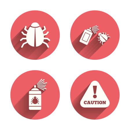 acarus: Bug disinfection icons. Caution attention symbol. Insect fumigation spray sign. Pink circles flat buttons with shadow. Vector