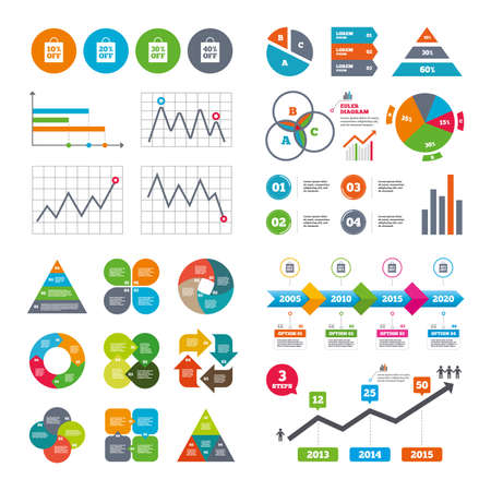 reductions: Business data pie charts graphs. Sale bag tag icons. Discount special offer symbols. 10%, 20%, 30% and 40% percent off signs. Market report presentation. Vector